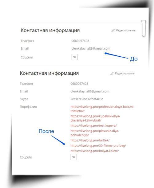 поле контактов копирайтера