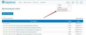 детализация счета Copylancer
