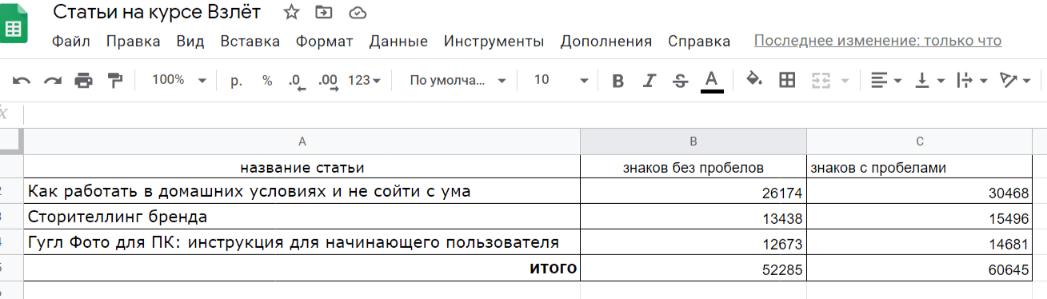 подсчитать символы в нескольких текстах